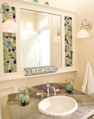 bathroom mirror embellished with mosaic