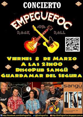 Cartel para la actuación de EmPegueFoc en DiscoPub Sangu, viernes 08-03-2013
