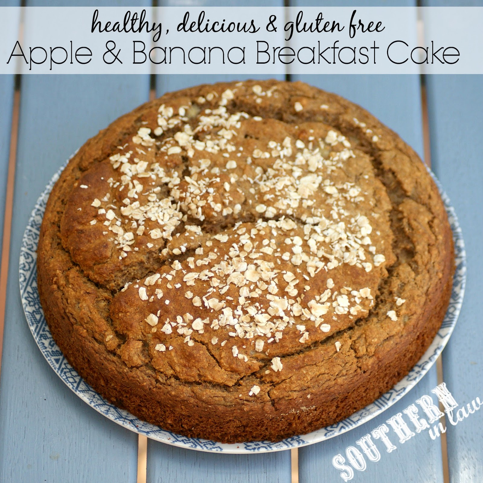 Healthy Apple and Banana Breakfast Cake Recipe - gluten free, low fat, sugar free, clean eating friendly, dairy free