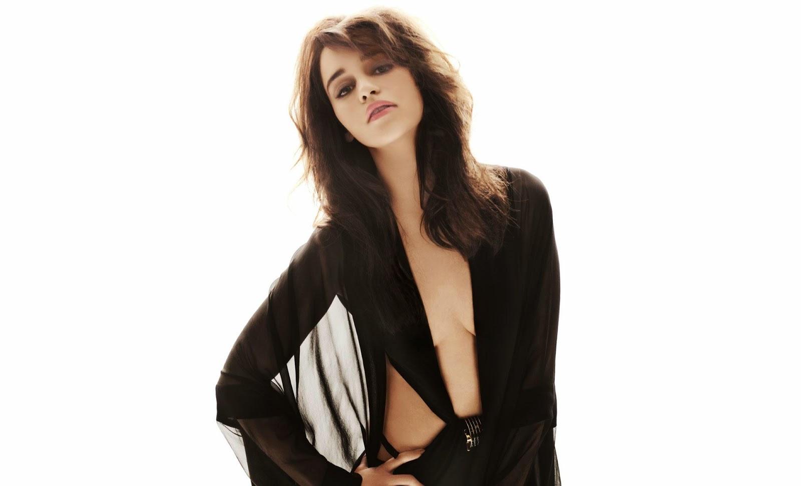 Emilia clarke in black cloth sexy hottest wallpaper
