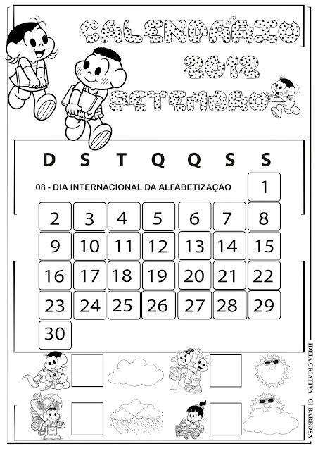 Calendário Setembro Turma da Mônica