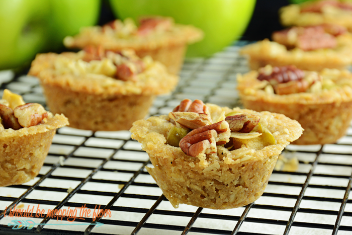 Miniature Apple Crisps | These bite-sizes versions of the classic fall dessert are less messy, but still packed with deliciousness.