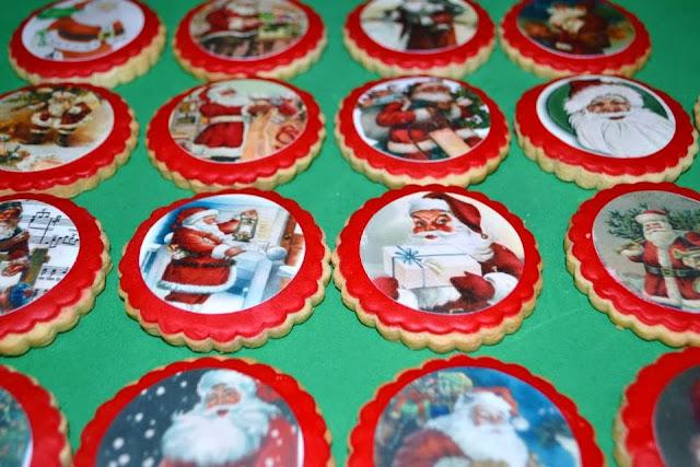 Galletas decoradas papel azucar papel comestible impresion tinta vegetal papa noel fondant  navidad