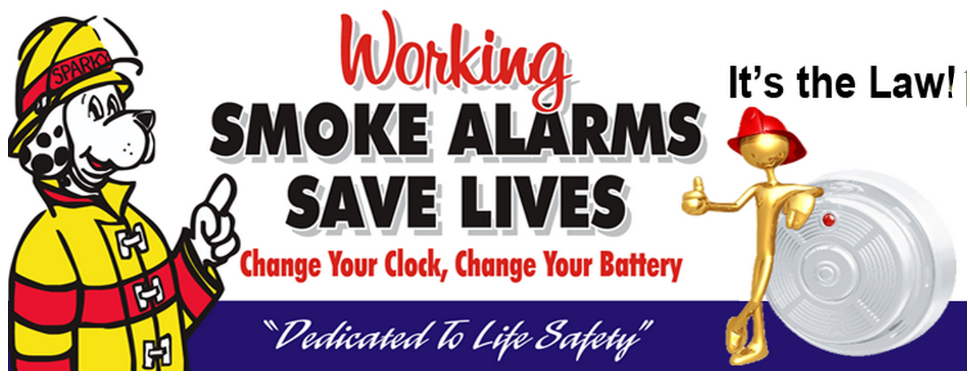 Kawartha Lakes Volunteer Fire Fighters say: Working Smoke alarms Save Lives Change Your clock Change Your Battery It's the Law Dedicated to Life Safety Banner with Sparkey the fire dog and gold firefighter with smoke alarm