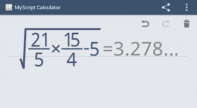 screenshot of MyScript Calculator on my phone