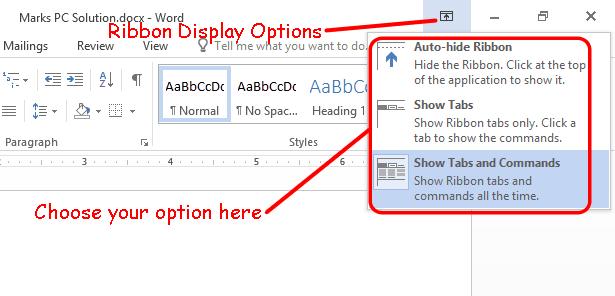 Ribbon Display Options Button