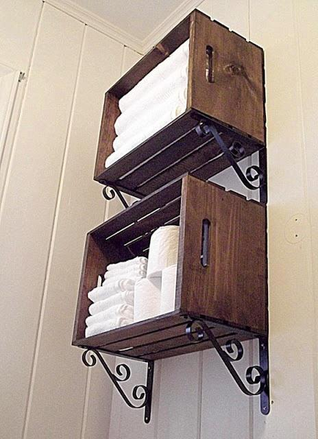 Hacer Estantes Para Baño:Crate Bathroom Storage