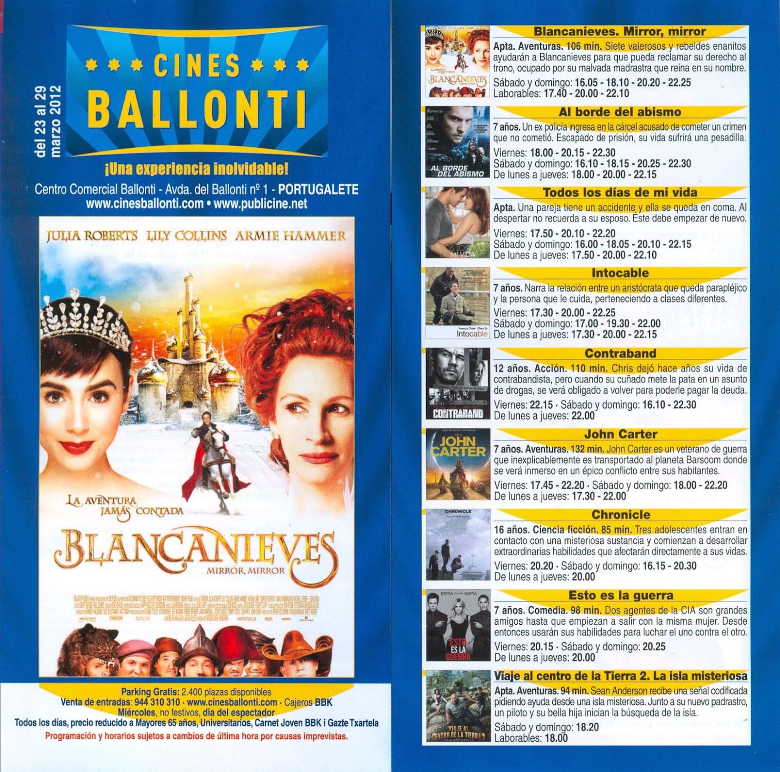 El rinc n de ben reilly cartelera de los cines ballonti - Cartelera cine de verano aguadulce ...