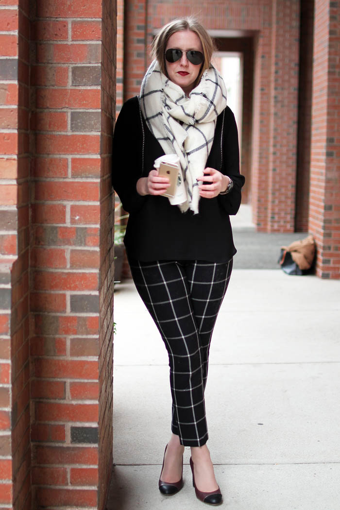 how to style blanket scarf, blanket scarf options, on the blog, boston blogger, window pane print