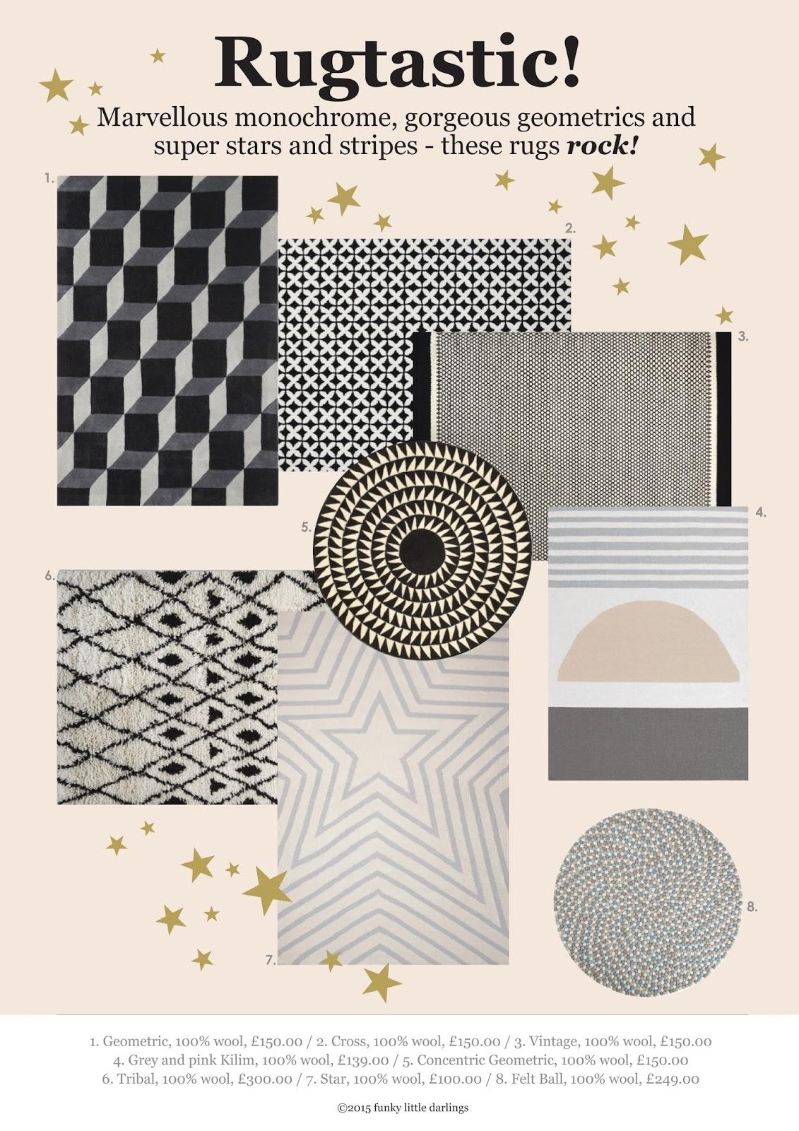 Monochrome Pattern Rugs Mood Board
