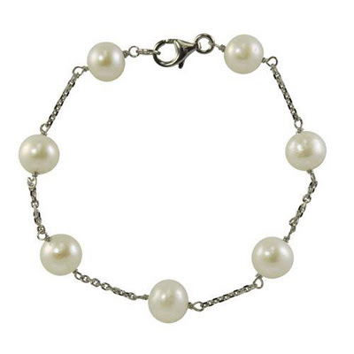 Cultured Freshwater Pearl Station Bracelet in Sterling Silver