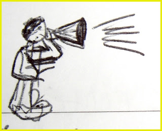 Sketch of a person with a megaphone