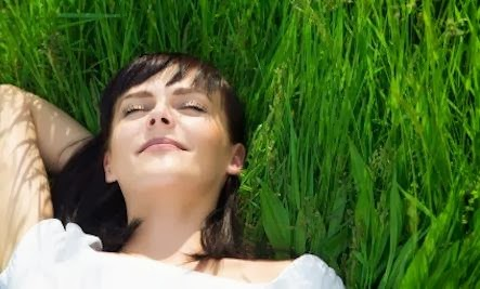 Embracing Rest woman girl lie grass under the trees idleness