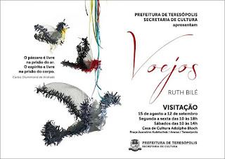 Visite a exposição 'Voejos' da artista plástica Ruth Bilé na Casa de Cultura de Teresópolis