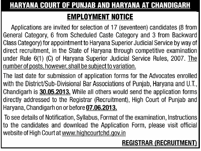 High Court Chandigarh jobs at www.freenokrinews.com