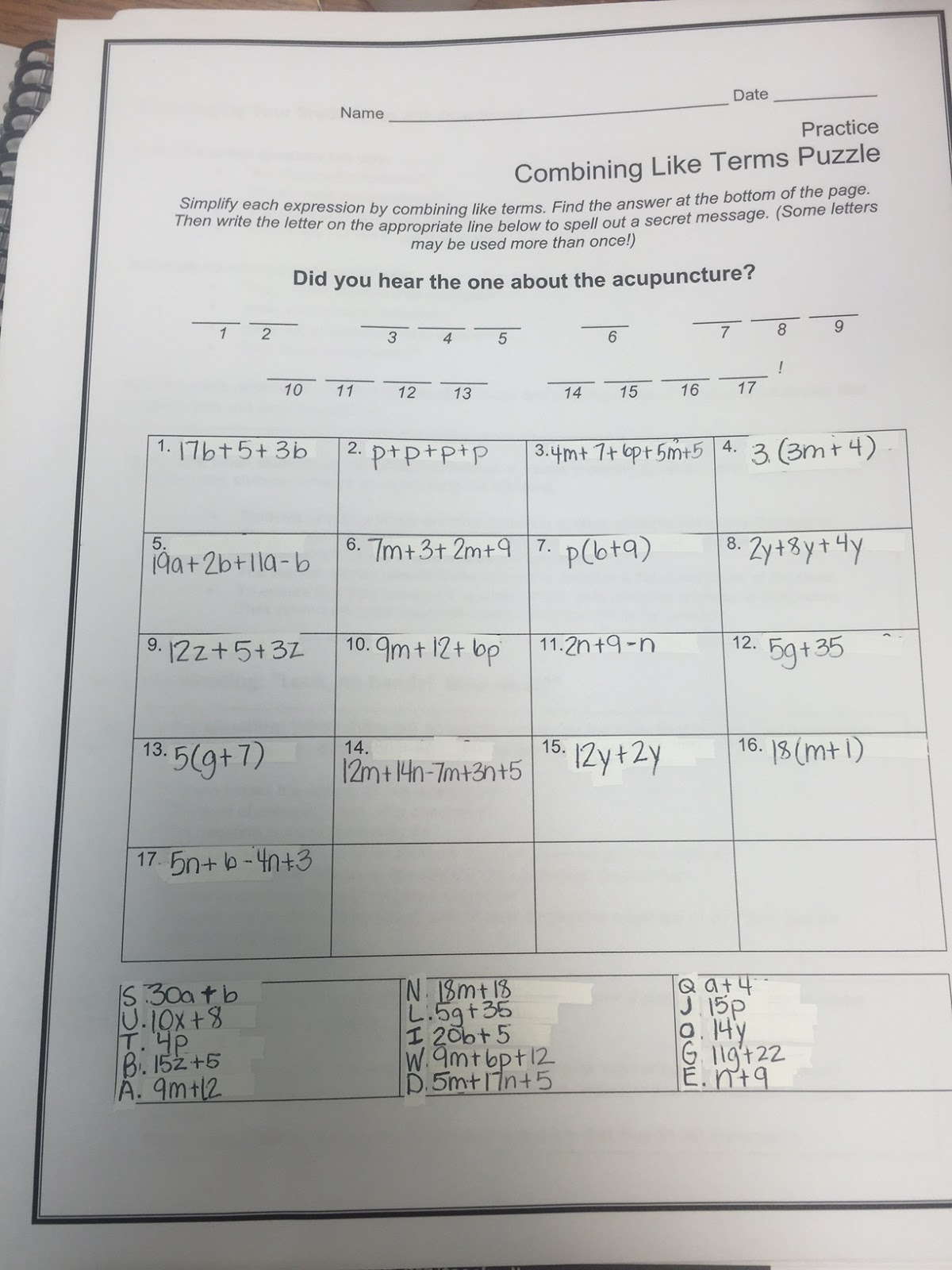 Combining like terms worksheet 8th grade answers