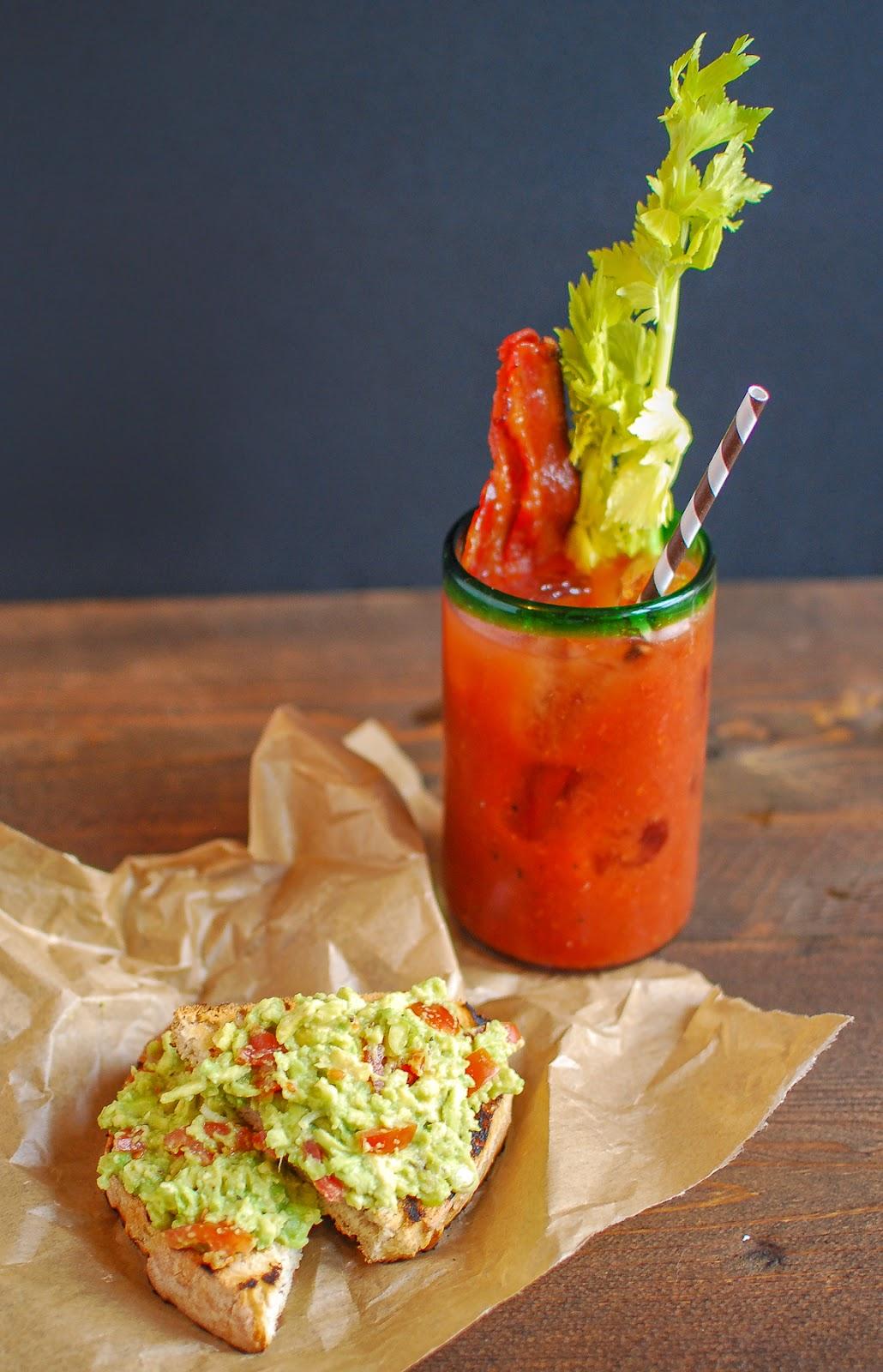 Bloody Mary with Sriracha Bacon and Avocado Toast