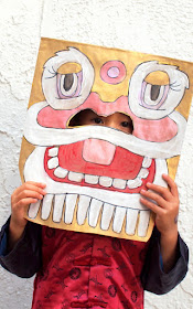 Chinese New Year Paper Bag Lion Mask Kids Craft