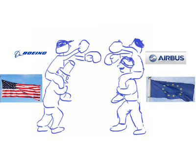 cartoon of Boeing and Airbus fighting on the shoulders of US and EU