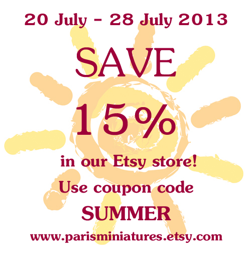 Save 15% in our Etsy store between 20 July and 28 July with coupon code SUMMER