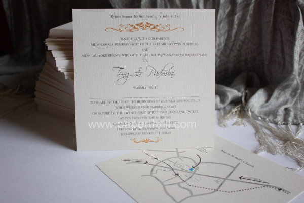 Beautiful elegant chic wedding invitation card
