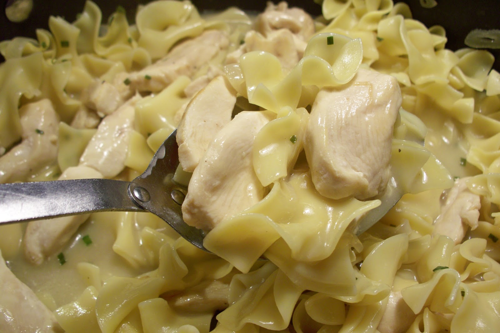 THE FOOD OF LOVE: Chicken and Egg Noodles with Wine Sauce