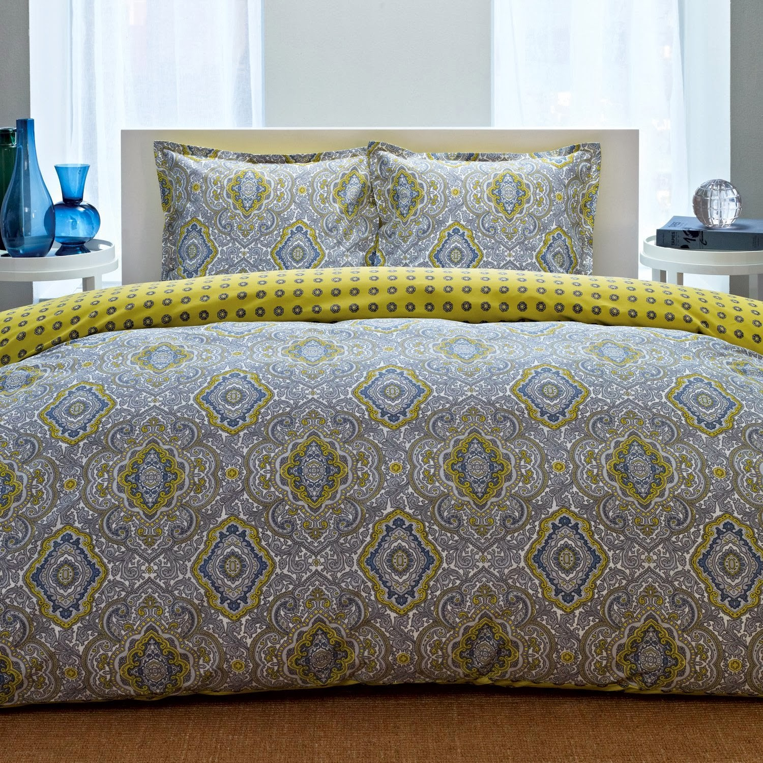 best grey and yellow bedding sets – ease bedding with style - city scene milan comforter set king