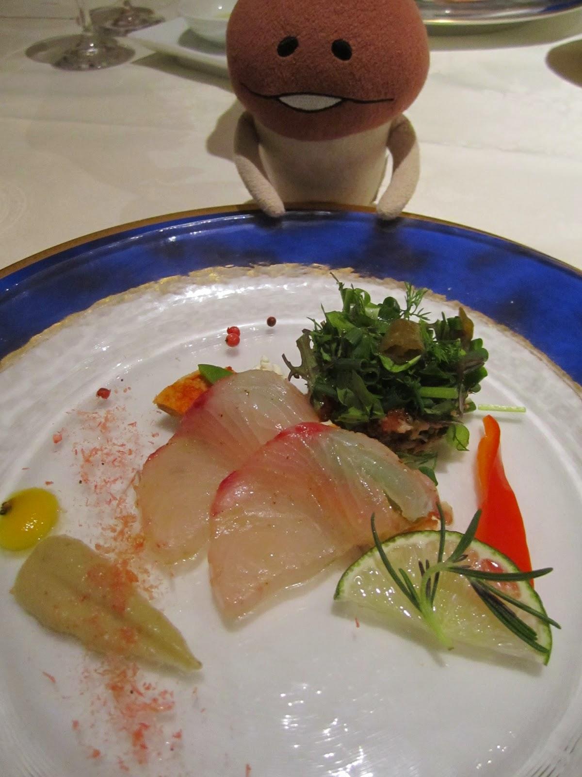Hotel Neuschloss Otaru Blau Kuste buri  (Japanese amberjack, yellowtail) carpaccio with eggplant sauce, and a snowcrab crabcake