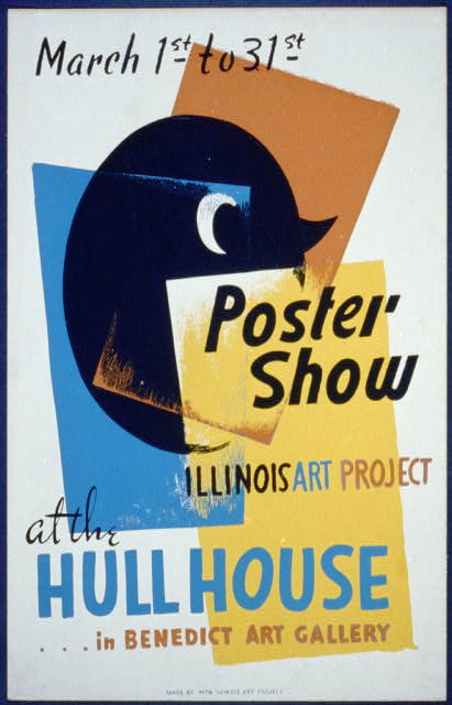 wpa, federal art project, vintage, vintage posters, graphic design, free download, classic posters, retro prints, art, Poster Show at the Hull House, Illinois Art Project - Vintage Art Design Poster