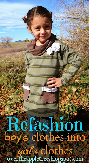Refashion boys clothes in to girl's clothes, upcycling tutorial by Over The Apple Tree