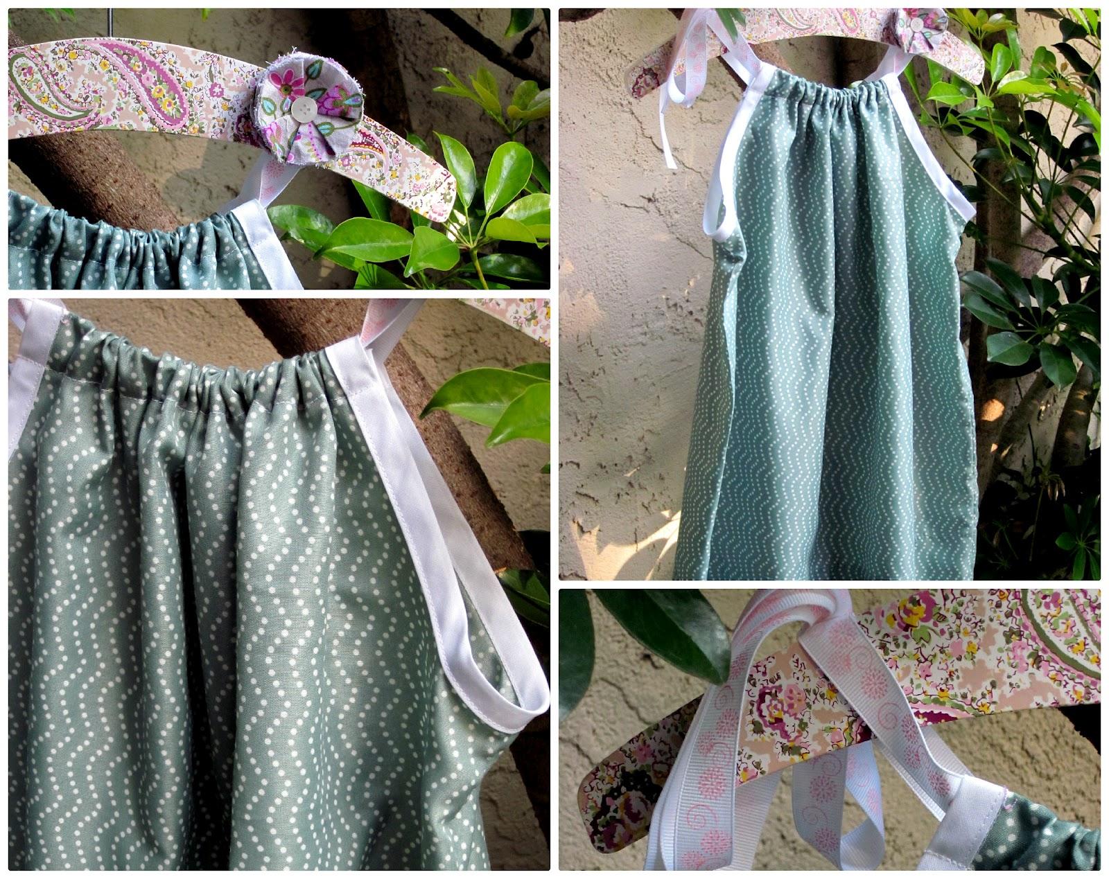 Easy DIY Pillowcase Dress with coordinating grey/pink/teal fabric flower clip & Mejia Mamma: EASY Pillowcase Dress pillowsntoast.com