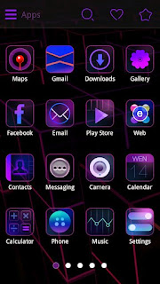 Screenshots of the Purple Charm GO Launcher Theme for Android mobile, tablet, and Smartphone.