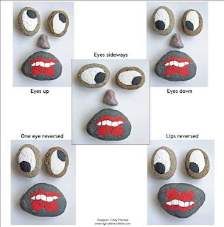 faces, rock painting, painted rocks, Cindy Thomas
