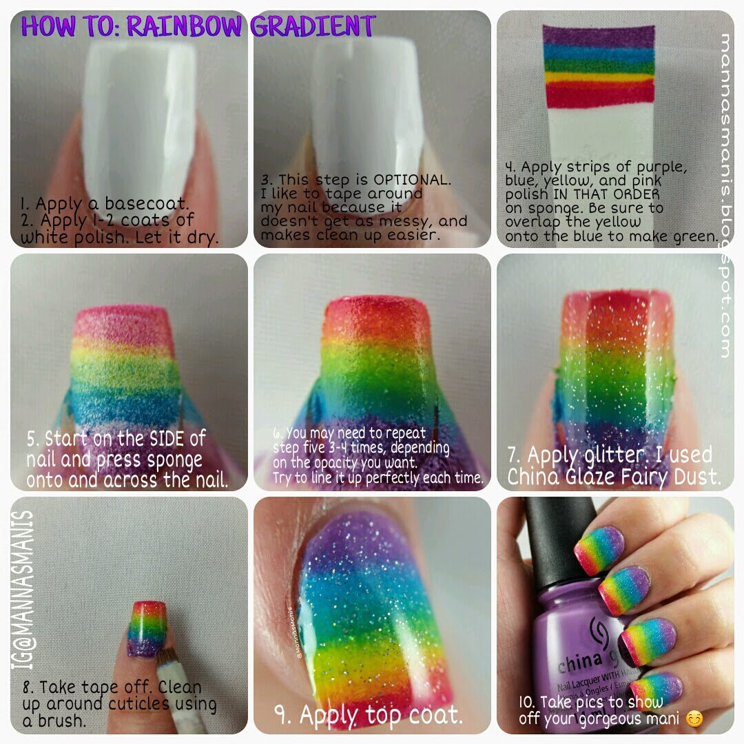 step by step guide for rainbow gradient nail art