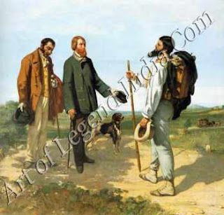 "The Great Artist Gustave Courbet Painting ""The Meeting or Bonjour, Monsieur Courbet"" 1854-50 ¾"" X 58 ¾"" Musée Fabre, Montpellier,"