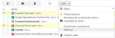 Stáhnout více dokumentů Google jako PDF, Microsoft Office, OpenOffice