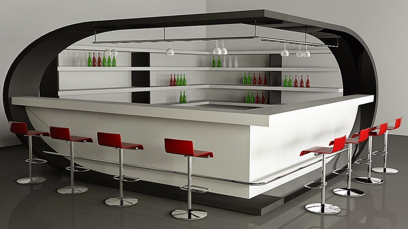 Bar with White, Green and Red Bottles