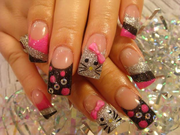 nail art kitty nails