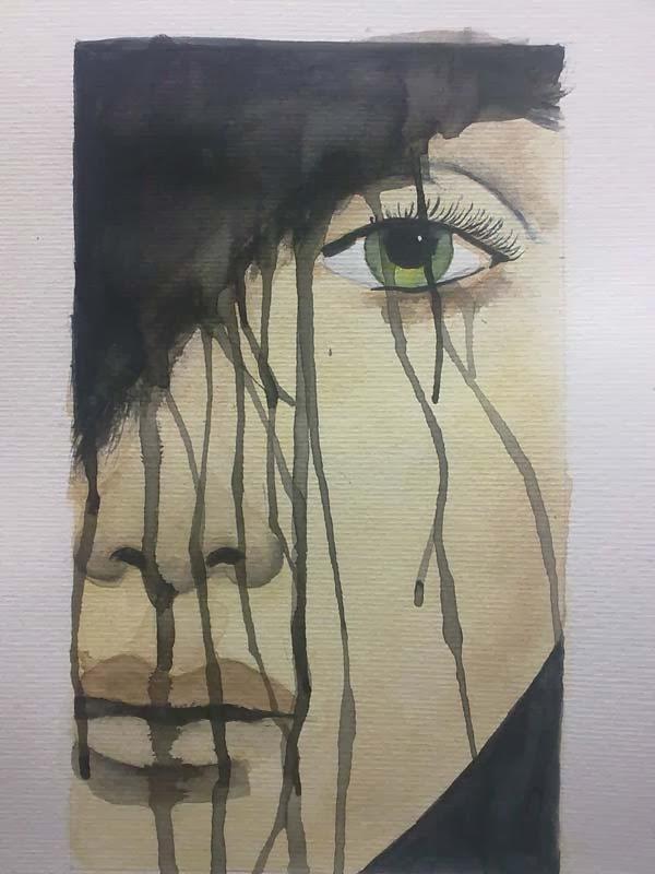 acabado de retrato en acuarela y tinta
