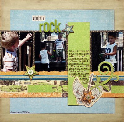 Boys Rock_Scrapbook Page_Guitar_Buttons