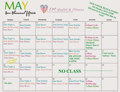 May Fitness Class Schedule
