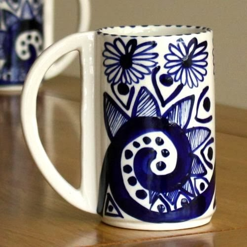 Blue hand painted ceramic mug by David Pantling