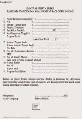 Lampiran 1: IDENTITAS PESERTA SELEKSI  BANTUAN PENINGKATAN KUALIFIKASI S-2 BAGI GURU SMP 2015
