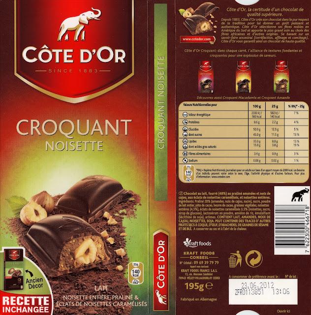 tablette de chocolat lait gourmand côte d'or croquant noisette lait