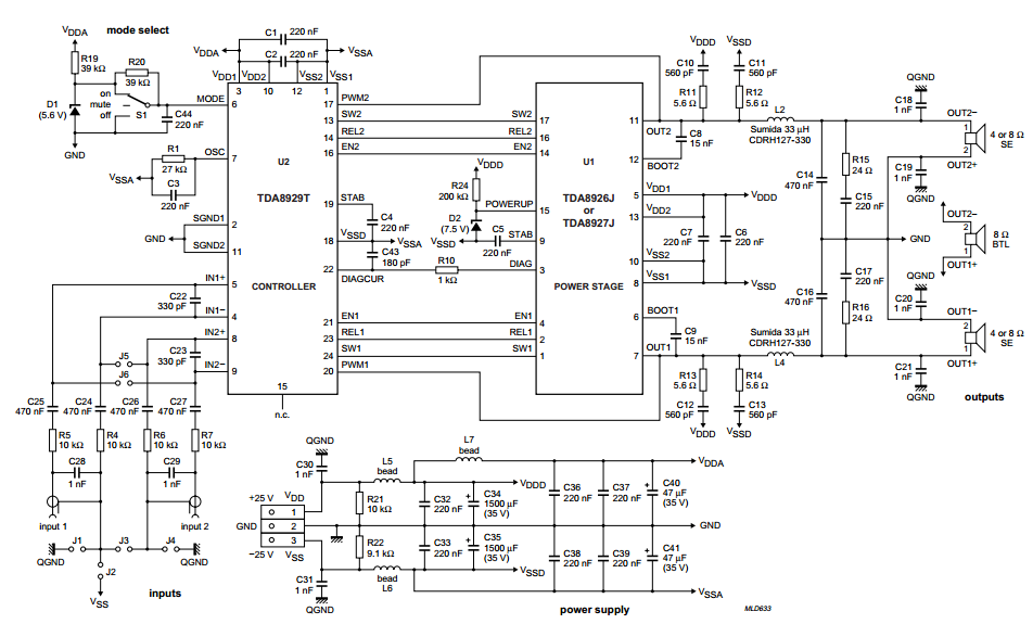 Circuit diagram for 2 x 80 W class-D audio amplifier