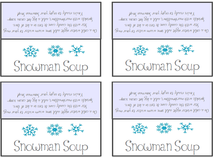 Snowman Soup Poem Tags | New Calendar Template Site Blank Menu Clipart