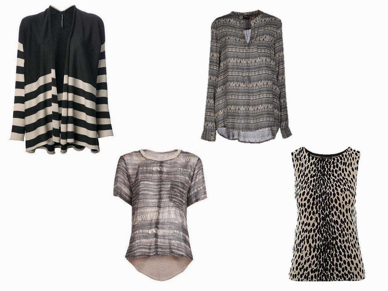 four accent tops in black and beige neutrals