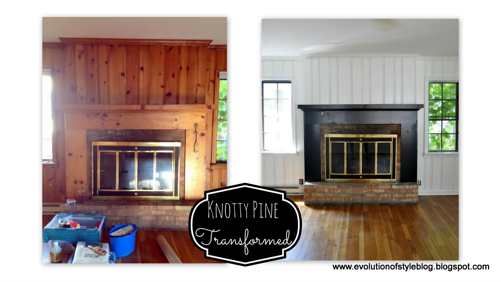 Before And After Painted Knotty Pine Walls And Cabinets