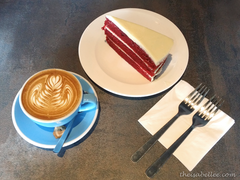 Flat White Coffee and Red Velvet cake at Standing Theory