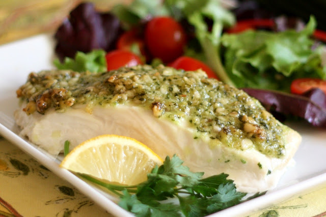 Baked Halibut with Pine Nut, Parmesan and Pesto Crust recipe by Barefeet In The Kitchen